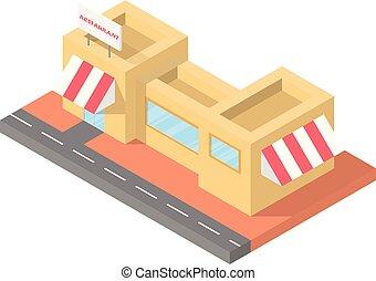 建物, 平ら, 等大, レストラン, イラスト, ベクトル, カフェ, デザイン, ブロック, 3d