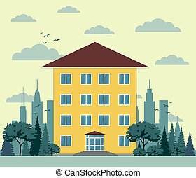 建物, 平ら, style., イラスト