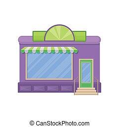建物, 店, ショーケース, イラスト, ファサド, ベクトル, 都市, 窓, 前部, 漫画, 光景