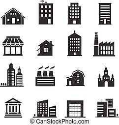 建物, 店, セット, アイコン