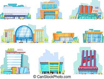 建物, 店, セット, 買い物, 建築である, officebuilding, 都市, newbuild, 隔離された, 店先, ファサド, モール, ベクトル, イラスト, 背景, 都市の景観, 白, 店