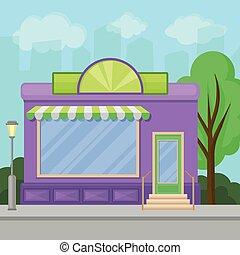建物, 店, 夏, ショーケース, イラスト, ベクトル, 窓, ファサド, 都市, 風景