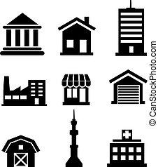 建物, 建築である, アイコン