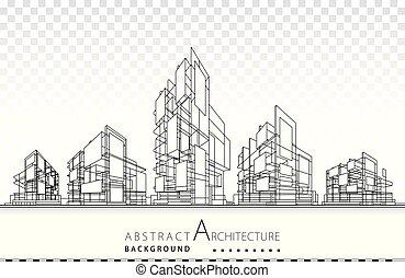 建物, 建築, 3d, イラスト, design., 建設
