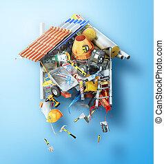 建物, 形態, concept., house., イラスト, 簀の目紙, 材料, 建設, から, 3d