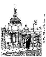 建物, 彫版, スタイル, 歴史的, ウクライナ, 型, kiev, デジタル, pecherskaya, 修道士,...