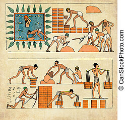 建物, 彫版, elaboration, コラージュ, 囚人, 中央, 壁, 古代エジプト, '800, 作成, 表すこと, 戦争, レンガ