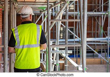 建物, 後部, サイト, 建設, 光景, 労働者