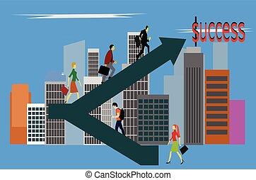 建物, 成功, 仕事, 階段。, 人々, の上, 旅行, 背景
