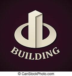 建物, 抽象的, ペーパー, ベクトル, アイコン