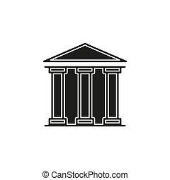 建物, 政府, -, イラスト, 銀行, アイコン