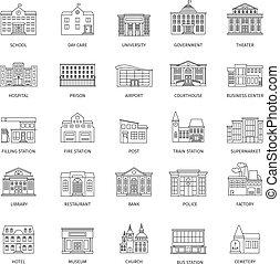 建物, 政府, 線, アイコン