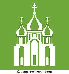 建物, 教会, 緑, アイコン
