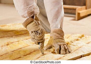 建物, 断熱材, 切断, 材料, 人