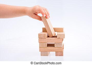 建物, 木製のブロック, 遊び, 手