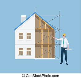建物, 案, 計画, マネージャー, 建設