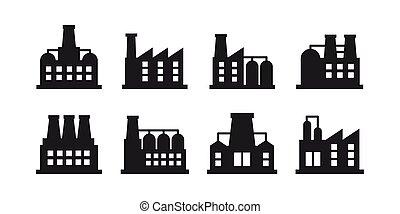 建物, 植物, 産業, 力, シンボル, 工場, ベクトル, セット, 背景, 白, 工場, 印。, アイコン