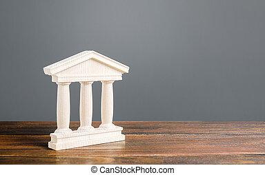 建物, 概念, ∥あるいは∥, 骨董品, library., 銀行業, 法廷, 都市, 柱, 小立像, 銀行, 町, government., 部分, 大学, 建築である, 教育, 古い, style., 管理, 記念碑, 白
