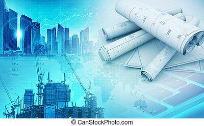 建物, 概念, イラスト, 工学, 建築物, 3d