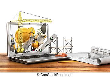 建物, 概念, ラップトップ, 道具, スクリーン, construction.
