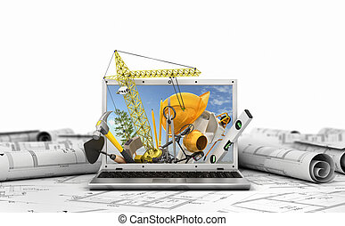 建物, 概念, ラップトップ, screen., イラスト, 道具, construction., 3d