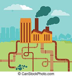 建物, 概念, -, 工場, ベクトル