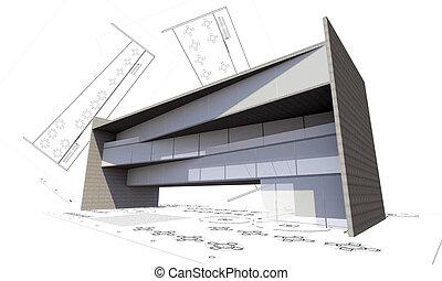 建物, 概念, 現代, イラスト, 建設, 3d