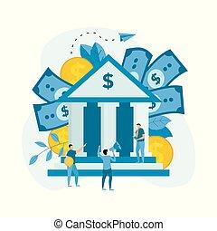 建物, 概念, 金融, ビジネス, お金。, ドル, 外面, 銀行