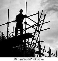 建物 構造, サイト, 足場, 労働者, シルエット
