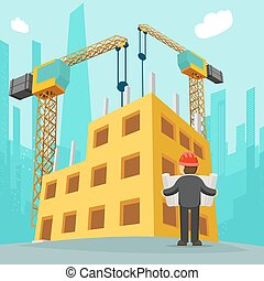 建物 構造, ベクトル, 漫画, イラスト