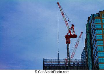 建物 構造, 東京, 下に, クレーン