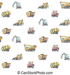 建物, 機械, わずかしか, おもちゃのトラック, カラフルである, 機械, パターン, 掘削機, cars., ...