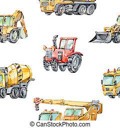 建物, 機械, わずかしか, 子供, machines., トラック, パターン, 掘削機, cars., ...