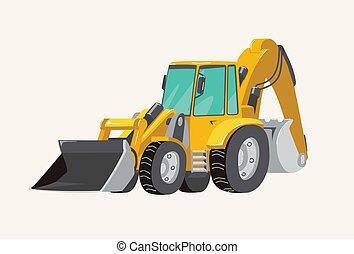 建物, 機械, ベクトル, 明るい, vehicles., イラスト, 車, 掘削機, 手, 漫画, 仕事, boys...
