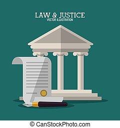 建物, 正義, 法律, デザイン, 文書