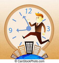 建物, 殺到, 操業, ビジネス, イメージ, -, 何時間も, 概念, 人