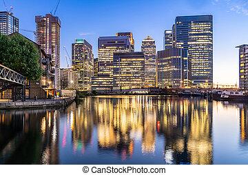 建物, 波止場, スカイライン, カナリア, ロンドン, イギリス, 日没, たそがれ