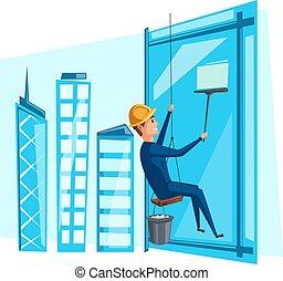 建物, 洗浄の窓, ベクトル, 清掃, 人