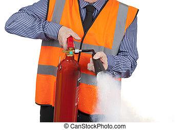 建物, 消火器, ベスト, 火, 視界, 測量技師, オレンジ, 使うこと