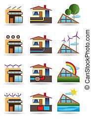 建物, 源, エネルギー, 緑