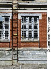 建物, 火, はしご, 古い, 脱出