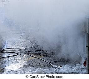 建物, 燃焼, 煙