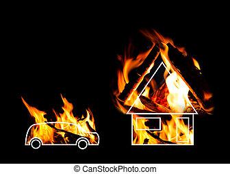 建物, 燃焼, 自動車, バックグラウンド。, 黒