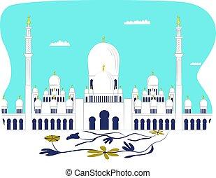 建物, 現代, 未来派, 美しい, モスク, れんが, アラビア人, masjid, 平ら, ベクトル, 隔離された, white., イラスト, 風景, 大聖堂, 都市