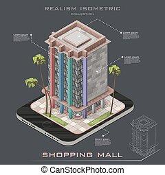 建物, 現実的, 買い物, 等大, モール, アイコン, infographic