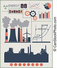 建物, 産業, セット, 工場