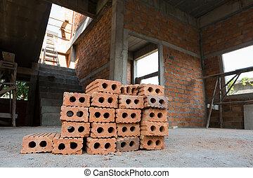 建物, 産業, 住宅の, サイト, 使われた, 建設, れんが, ブロック