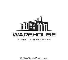建物, 産業, 工場, ベクトル, デザイン, 倉庫, ロゴ, 製造, design.