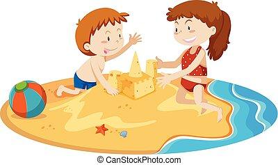 建物, 男の子, 砂の 城, 女の子