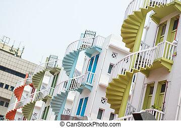 建物, 町, 階段, カラフルである, らせん状に動きなさい